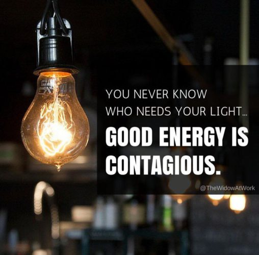 good energy is contageous with light bulb