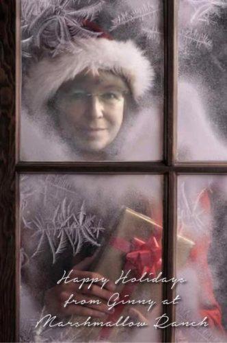 woman in Santa hat looking through window at Christmas