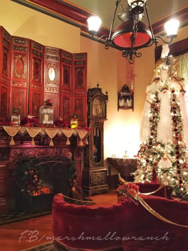 Victorian Christmas decorations in a parlor.