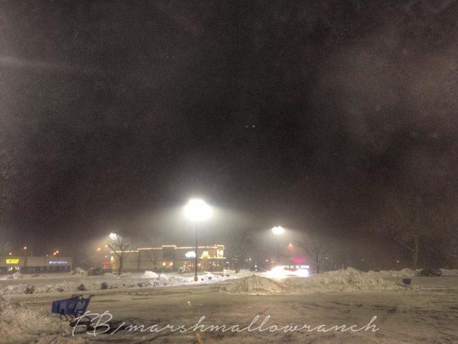 Snow and streetlights at night.