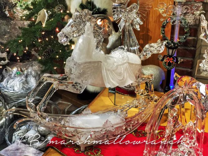 Glass rocking horse at Oglebay Park Gift Shop, West Virginia Glass