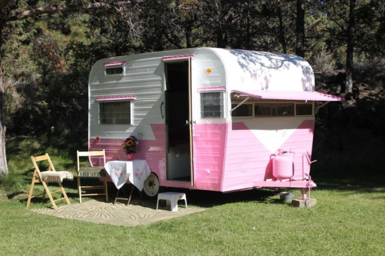 Little pink and white camper.