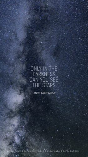 Only in the darkness can you see the stars. Martin Luther King, Jr.