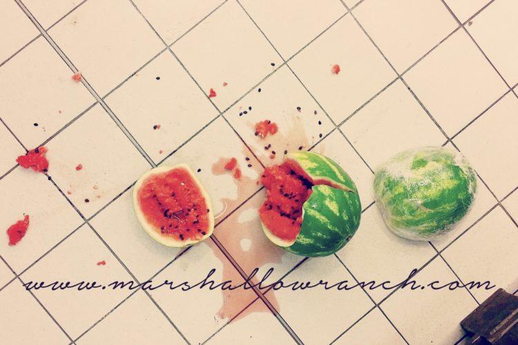 Smashed watermelon