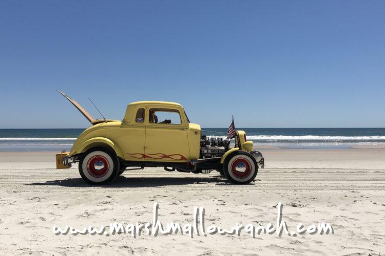 Yellow hot rod on Daytona Beach