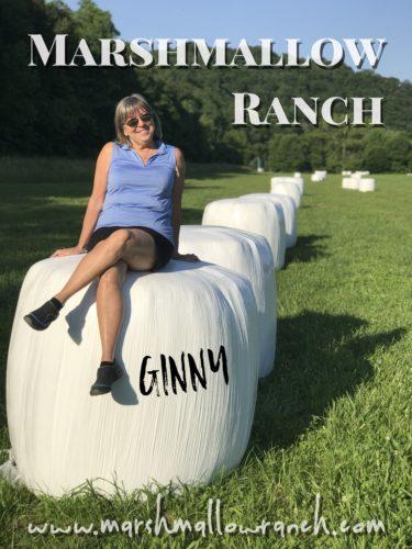 Woman sitting on round hay bale
