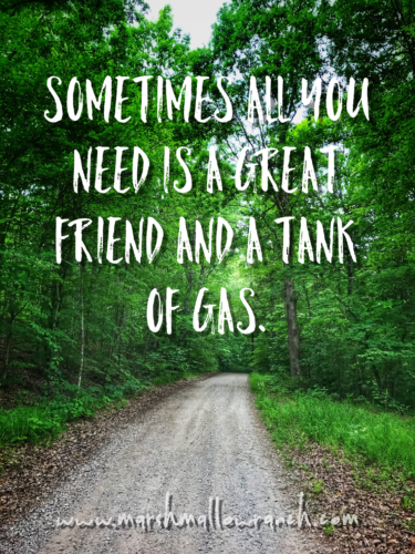 Sometimes all you need is a great friend and a tank of gas.